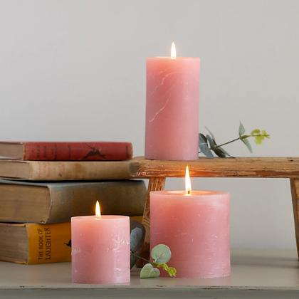 Rustic Pink Pillar Candles (3 sizes)