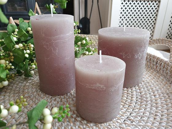Rustic Latte Pillar Candles (3 sizes)