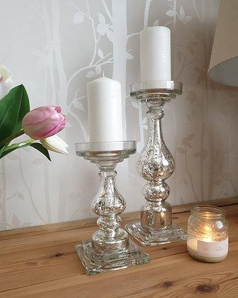 Antique Silver Glass Candle Column