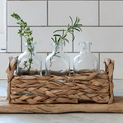 Straw Basket & 3 Glass Bottle Set