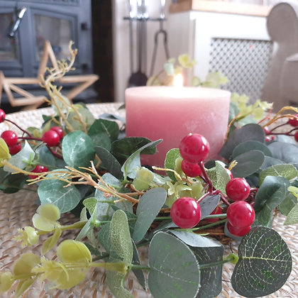 Red Berry & Eucalyptus Table Wreath