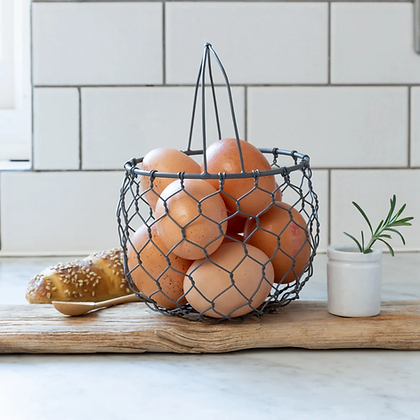 Small Round Wired Egg Basket