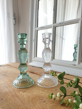 Bella Glass Candlestick Vintage Green