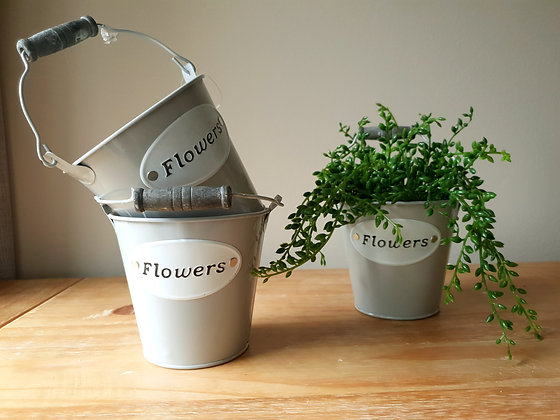 Grey Flower Tins (Set of 3)