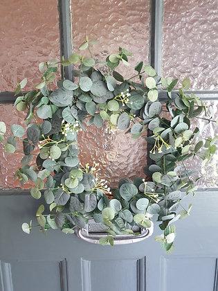 White Flower & Eucalyptus Wreath