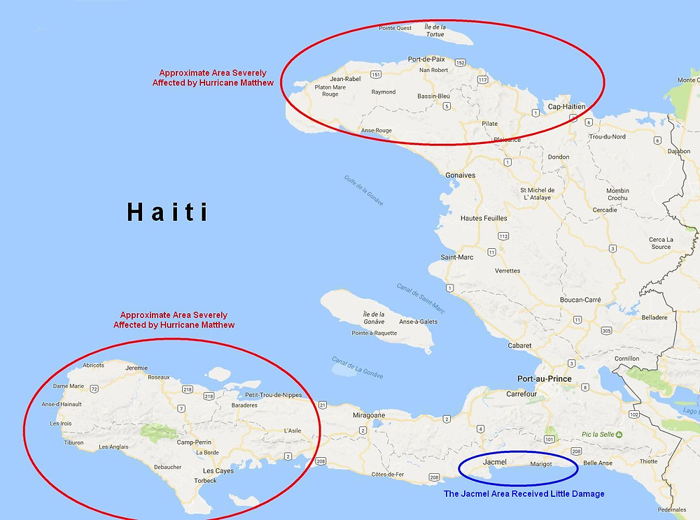Map of Haiti Showing Areas Severely Damaged by Hurricane Matthew in 2016