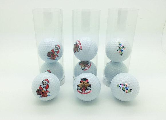 Vorteilspack: 9 Golfbälle mit Weihnachts- und Neujahrsmotiven