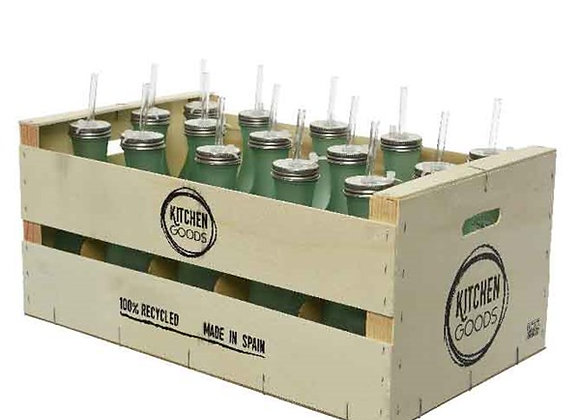15 Glasflaschen in Kasten | Recyclingglas