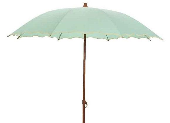 Sonnenschirm mit Wellenrand, 180 cm, mint-grün