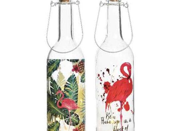 LED Flaschen-Set mit Flamingoprint