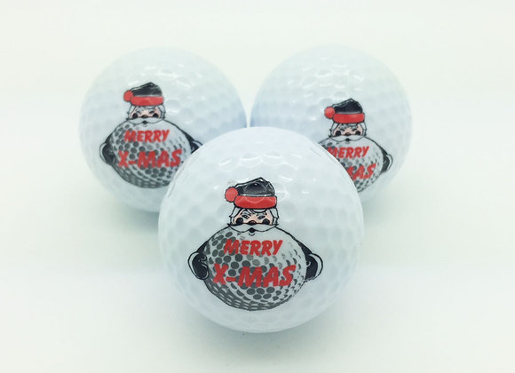 3 Golfbälle - Weihnachtsmann Merry X-Mas