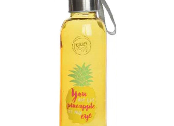 Glastrinkflasche mit Deckel und Band - Ananas