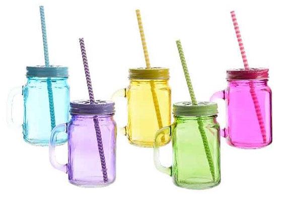 Bunte Trinkgläser mit Deckel, Griff und Strohhalm