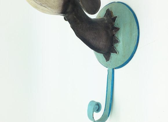 Dackel Wandhaken, blaue Platte