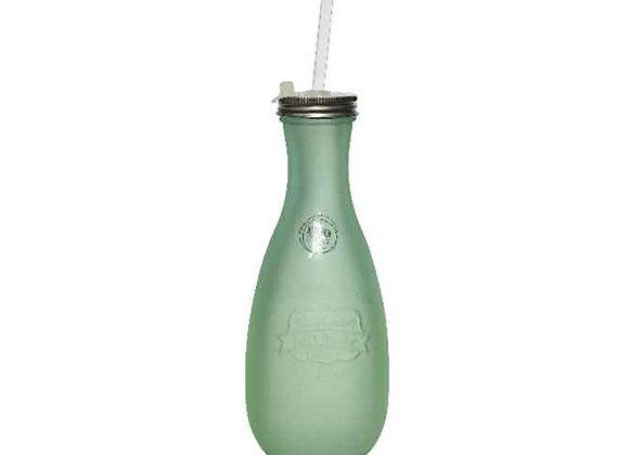 Glasflasche mit Strohhalm | Recyclingglas