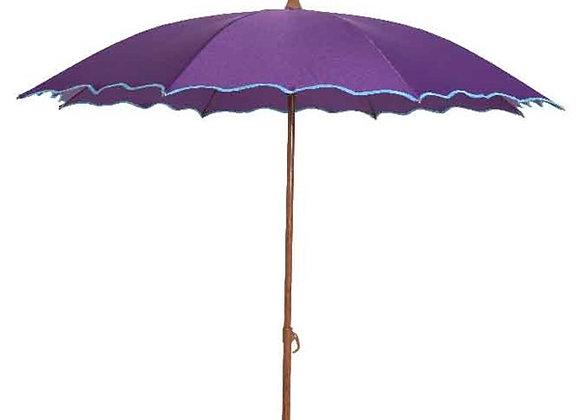 Sonnenschirm mit Wellenrand, 180 cm, lila