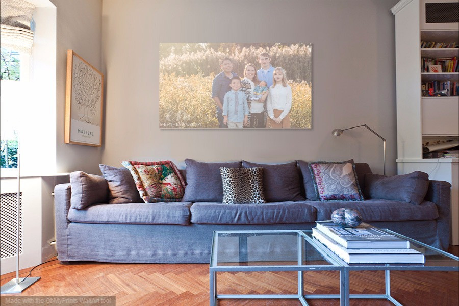 big family canvas in living room