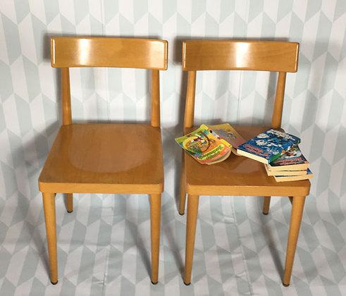 Stühle helles Holz, 50er-Jahre