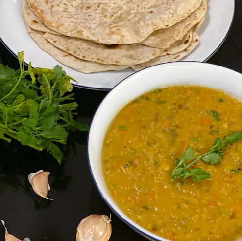 Recipe: Red Lentil Dal with Roti