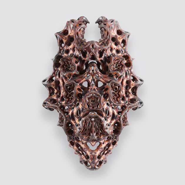 Neri Oxman and The Mediated Matter Group. Vespers. 2018. Series 1, Mask 5, front view. Designed for The New Ancient Collection. Curated and 3-D printed by Stratasys. Photo by Yoram Reshef.