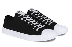 Nothing New - Women's Low Top Sneakers in Black + White