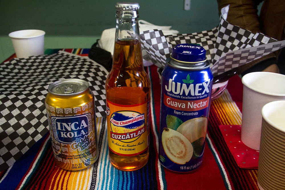 Some of Paraiso's drinks, including Inca Kola from Peru, Cuzcatlan from El Salvador and Jumex Guava Nectar from Mexico.