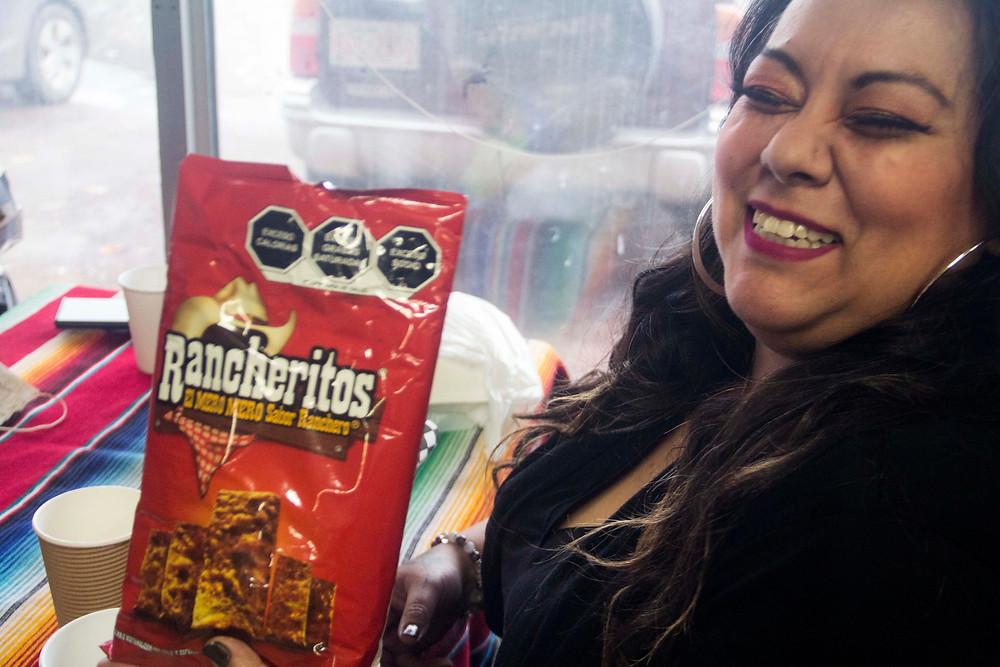 Paraiso Taste Panelist Virgy Pardo with Rancheros Chips.