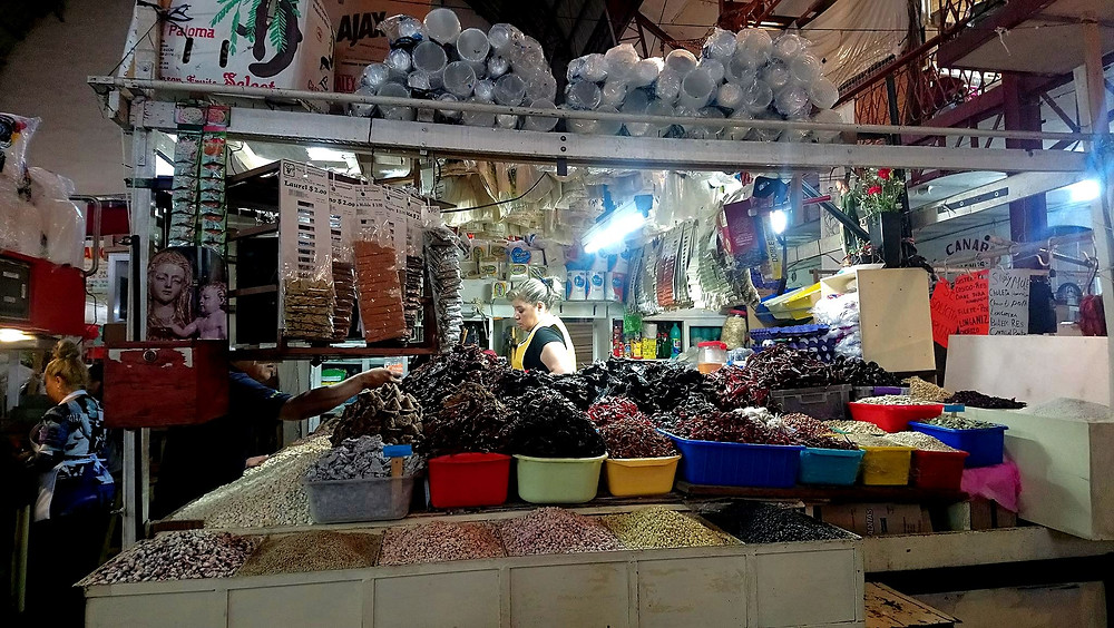 A local shop inside Guanajuato municipal market selling/displaying dried chiles. Photo was taken in October, 2018, Guanajuato municipal market, Guanajuato, Mexico.