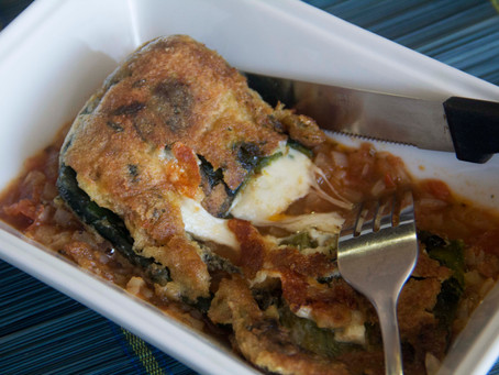 Chiles rellenos (stuffed peppers) with poblano peppers & Oaxaca cheese