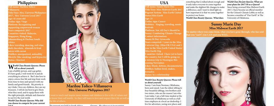 Mrs. Universe Loyal 2017, was featured and interviewed by owner/chief editor Derek Tokarzewski of World Class Beauty Queens Magazine