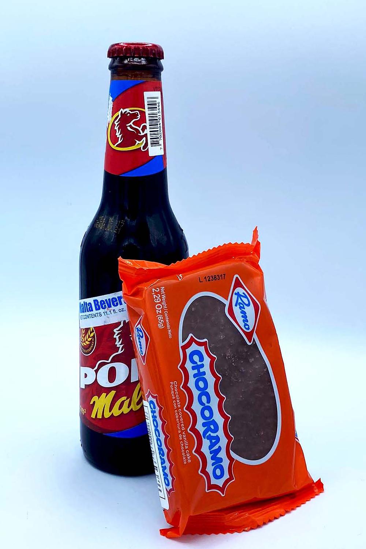 Paraiso Tropical's Duo Deal for December: Pony Malta pop & Ramo Chocoramo chocolate pound cake.