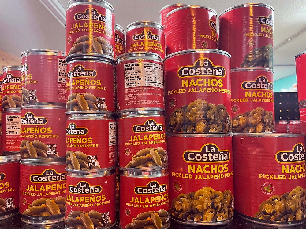 Canned chiles such as pickled jalapeño peppers are available at Paraiso Tropical Latin Market.