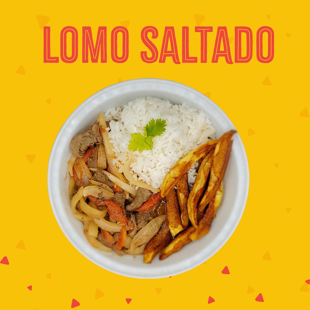 Paraiso Tropical Latin Food Market offers lomo saltado as part of their kitchen take-out.