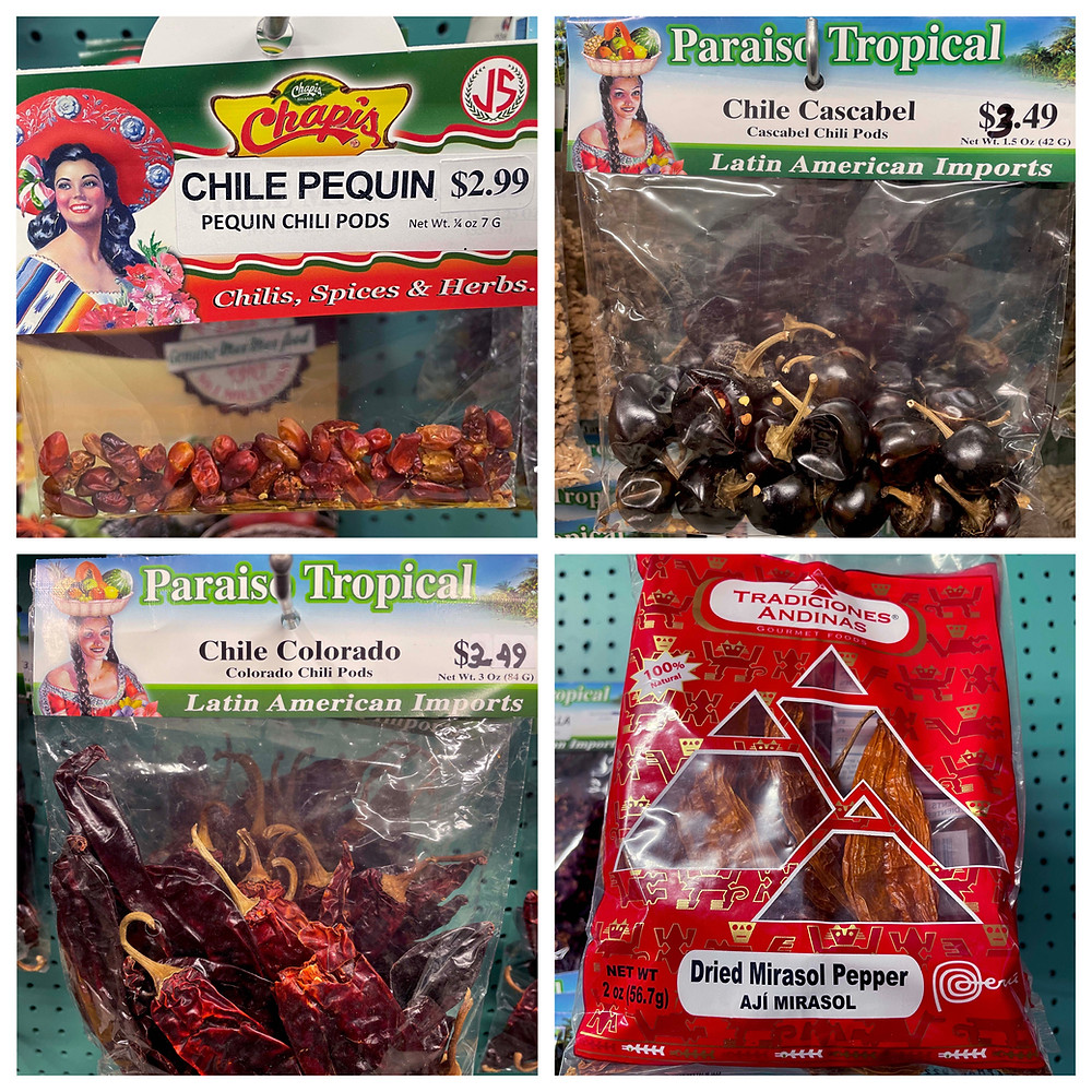 Paraiso Tropical Latin Market's variety of dried chiles from Mexico and Peru.