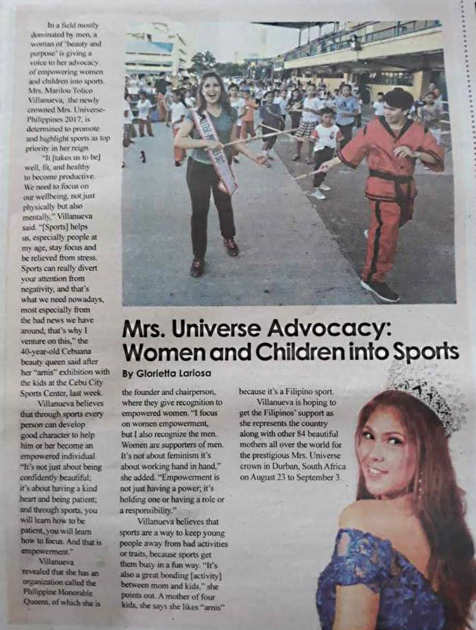 Mrs. Marilou Tolico Villanueva,   Mrs. Universe-Philippines 2017, is determined to promote and highlight sports. (published by local newspaper in Cebu, THE FREEMAN)