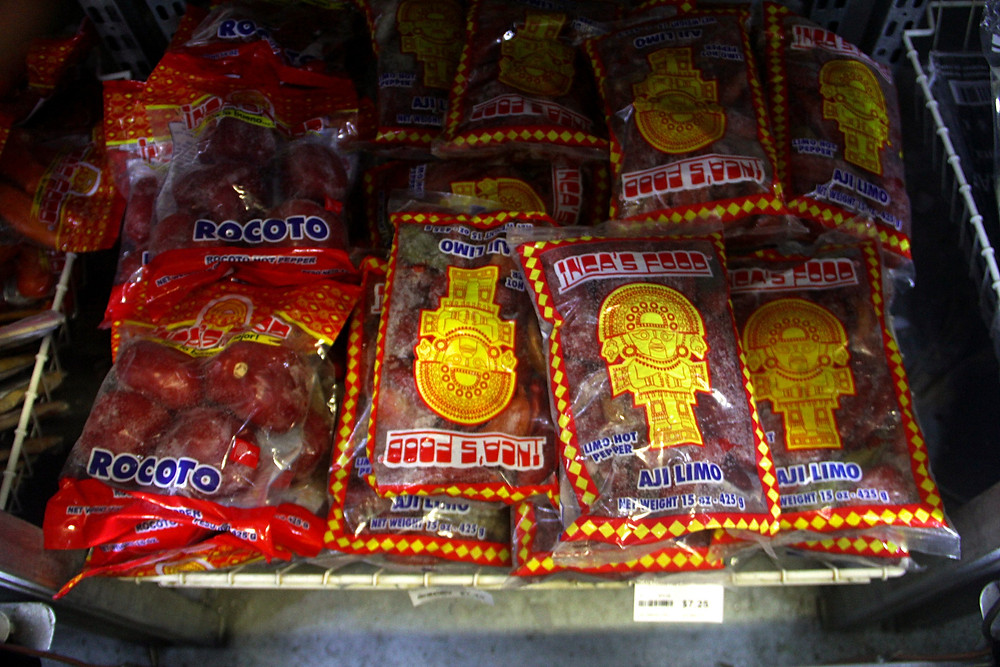 Peruvian ajís (chiles), including rocoto and limo, can be found in Paraiso Tropical's freezer section.