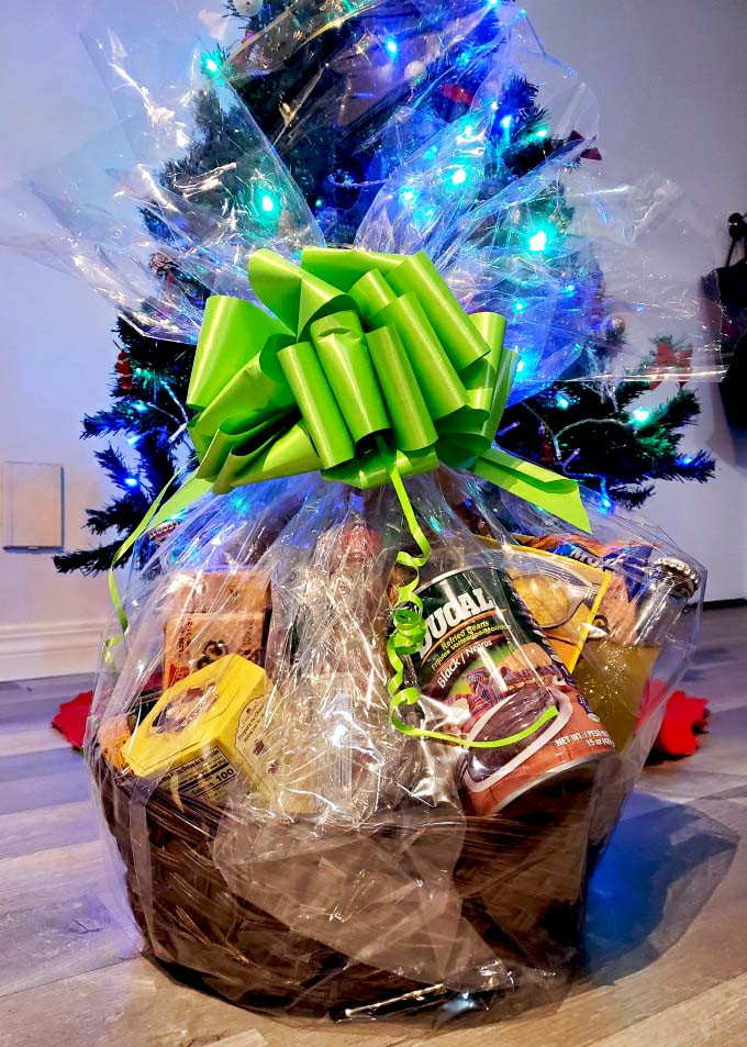 DIY gift basket from various items from Paraiso Tropical Latin Market.