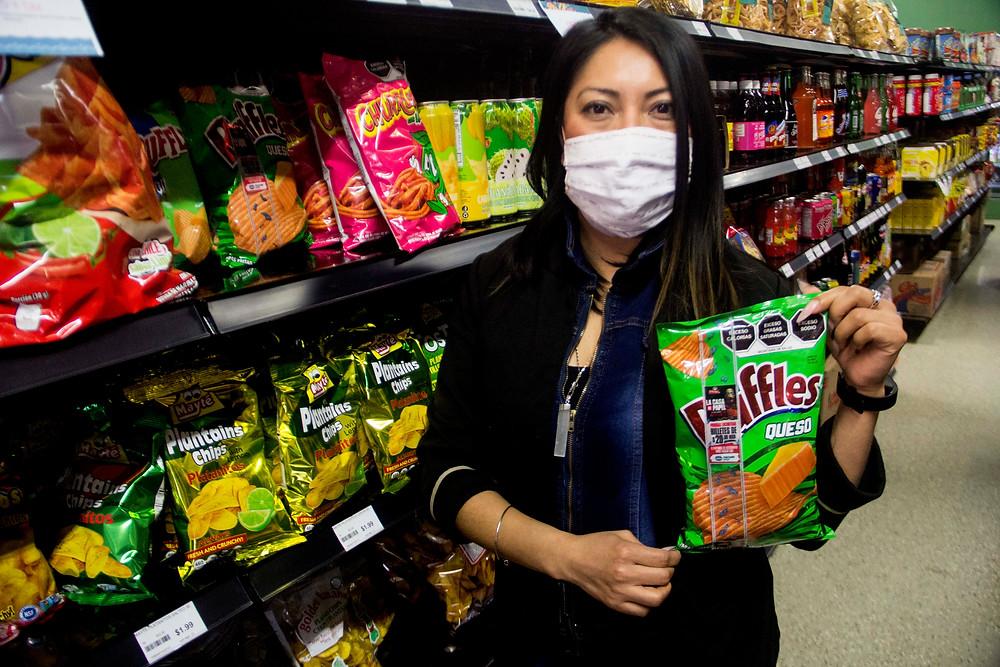 Paraiso Taste Panelist Yazmin Juarez with her favourite chips Queso Ruffles.
