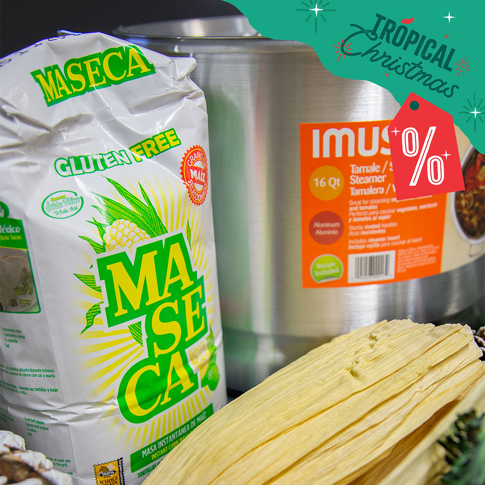 Tropical Christmas specials include Maseca corn flour, tamaleras (tamale steamers), and corn husk.