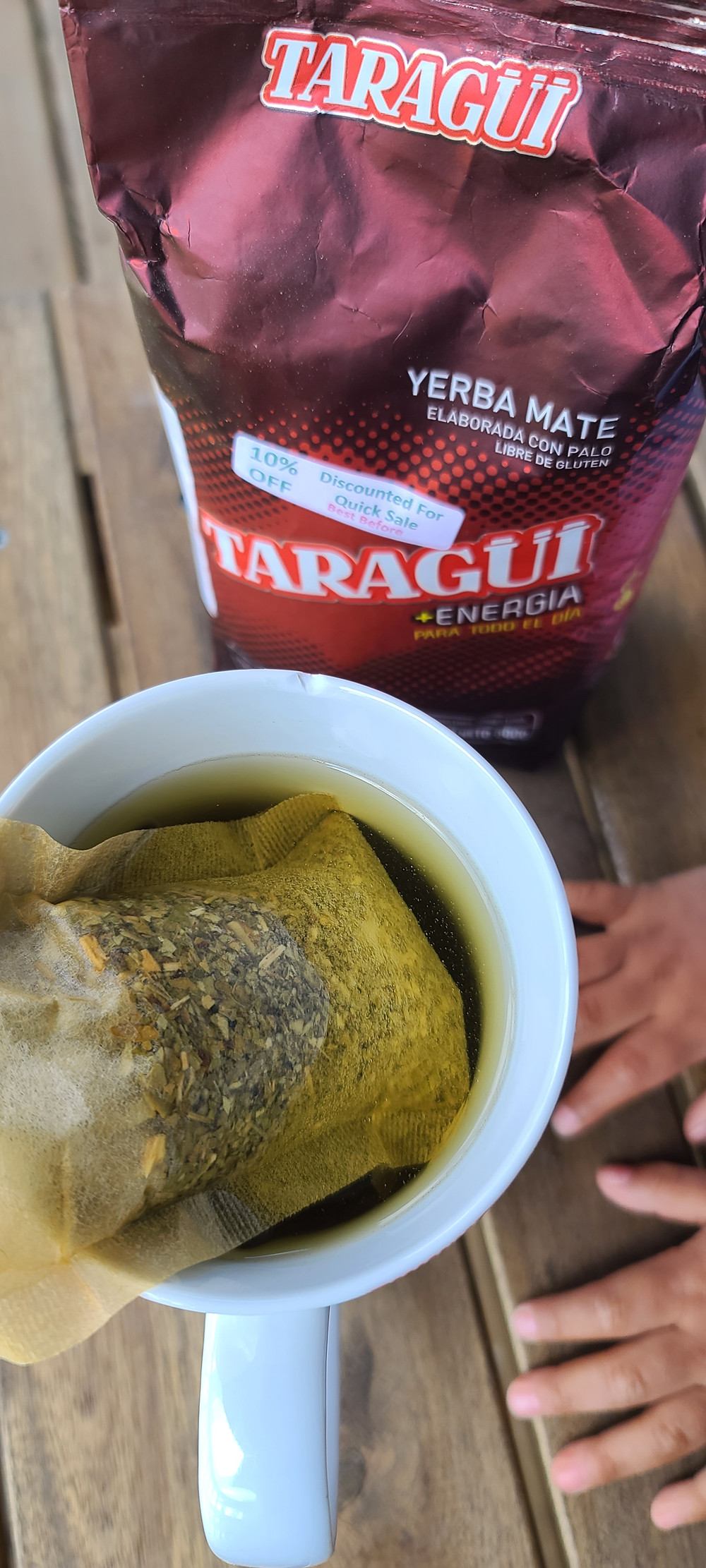 A nice hot cup of Taragui yerba mate for the energy boost.