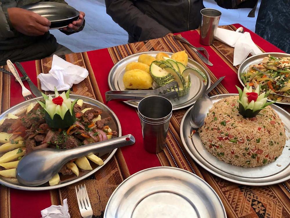 Peruvian dishes, such as lomo saltado and arroz chaufa.