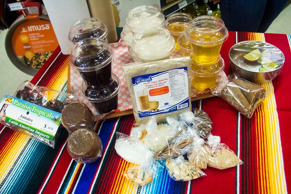 Agua de jamaica; horchata salvadoreño; and agua de panela; and their ingredients