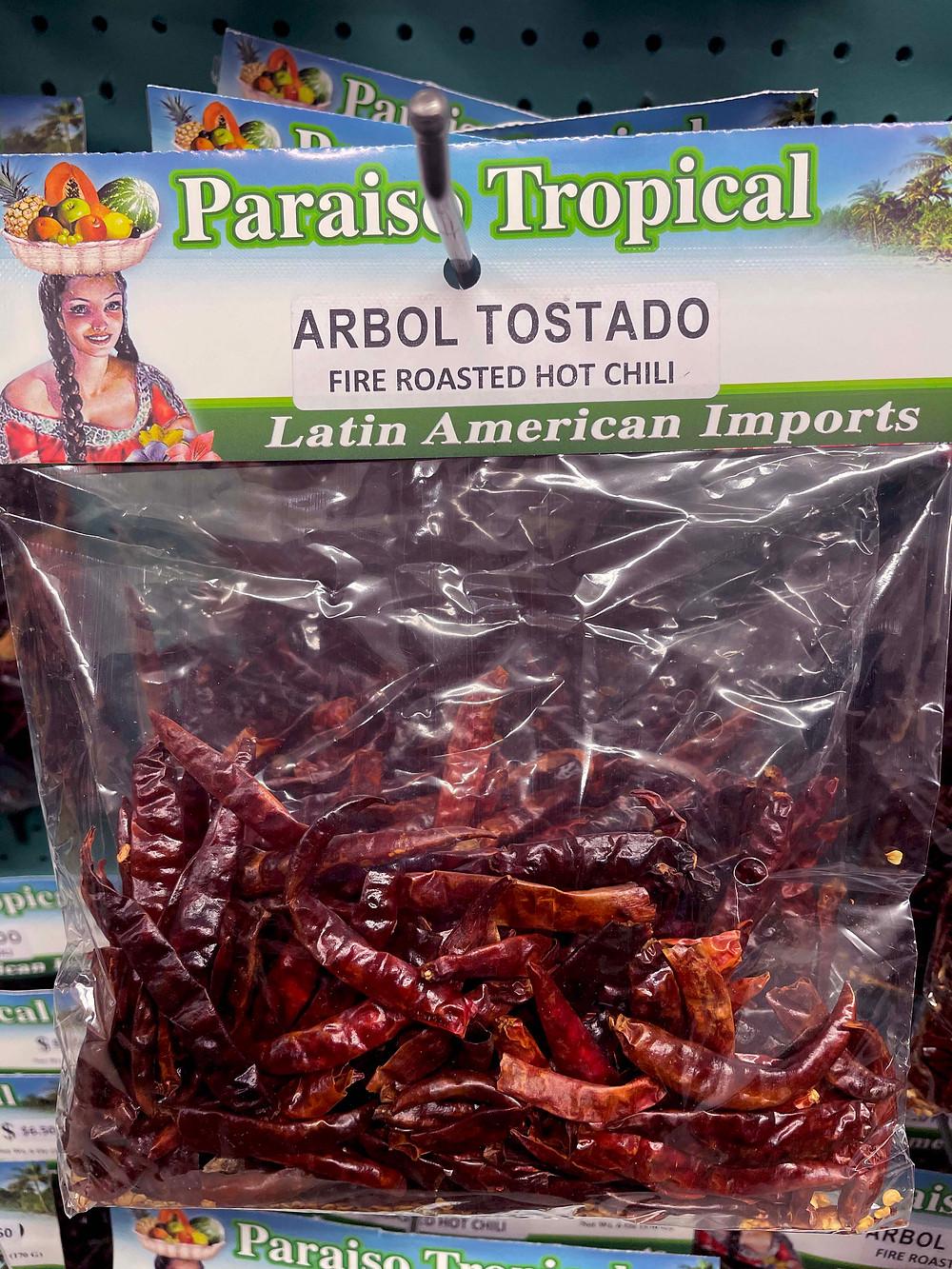 Paraiso Tropical's chile de árbol tostado (fire roasted de arbol chili).