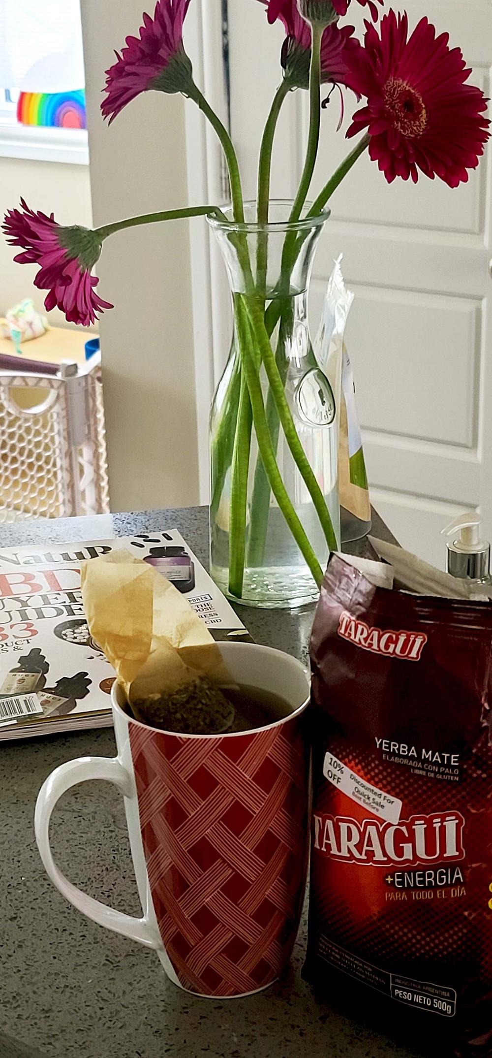 A nice hot cup of Taragui yerba mate.