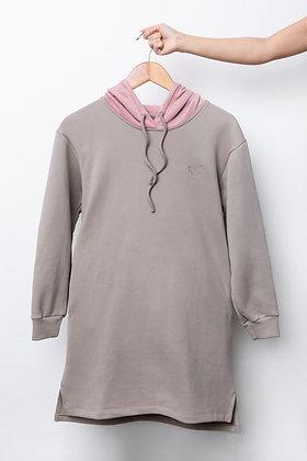 Stuff Hooded Dress (Grey/Pink)