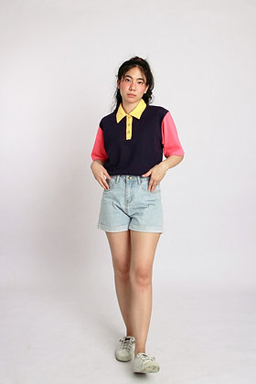 Oversized Multicolored Polo in Navy, Pink, & Yellow