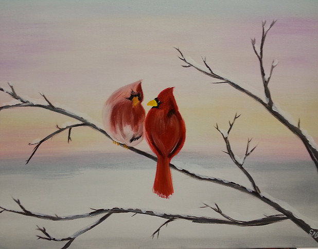 Winter Red Birds