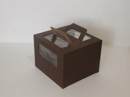 Коробка для торта с окном и с ручками 260x260x200, цвет шоколадный.