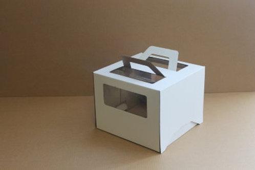 Коробка для торта с окном и с ручками 280x280x200