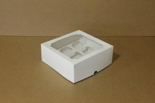 Коробка из белого картона с окном на 4 капкейка